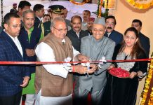 Governor S P Malik inaugurating Dr Karan Singh Library at Gulab Bhawan on Sunday.