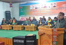 BJP national vice president & incharge J&K, Avinash Rai Khanna addressing party meeting at Leh on Sunday.
