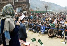 Mehbooba Mufti addressing PDP Youth Convention in Srinagar on Sunday. — Excelsior/Shakeel