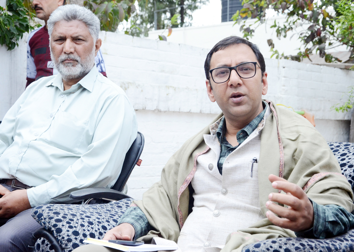 Former MLC and senior PDP leader Firdous Tak talking to reporters in Jammu on Sunday. — Excelsior/Rakesh