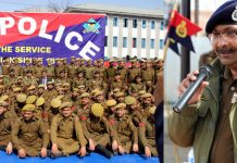 DGP Dilbag Singh addressing officers and jawans of Jammu and Kashmir Police.