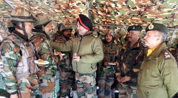 Northern Command chief Lt Gen Ranbir Singh inter-acting with jawans.