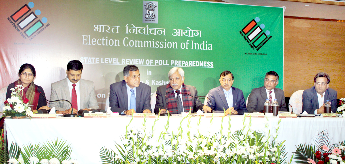 Full Election Commission at a press conference in Jammu on Tuesday. -Excelsior/Rakesh