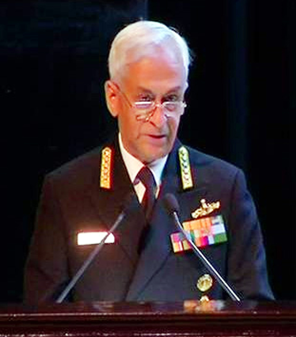 Navy chief Admiral Sunil Lanba addressing global experts in New Delhi on Tuesday.