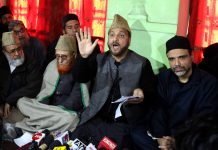 Mufti Nasir-ul-Islam addressing media at Mirwaiz Manzil Srinagar. —Excelsior/Shakeel