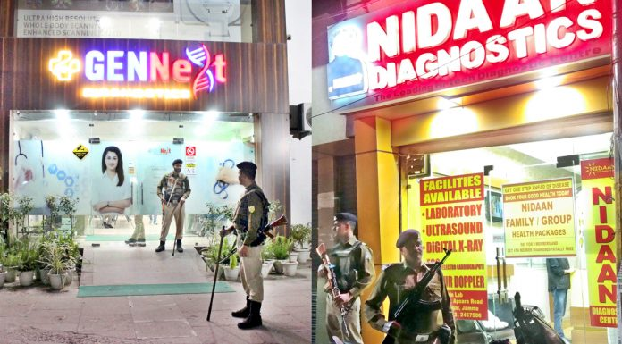 CRPF personnel deployed outside prominent diagnostic centres during Income Tax Department surveys on Monday. -Excelsior/Rakesh