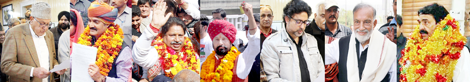 Dr Farooq Abdullah, Vikramaditya Singh, Raman Bhalla, Ch Lal Singh, Khalid Jehangir, Prof Bhim Singh and Tilak Raj Bhagat filing their nomination papers on Monday.