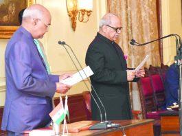 President Ram Nath Kovind administering the oath to Justice Pinaki Chandra Ghose, Chairperson-Designate, Lokpal at Rashtrapati Bhavan, in New Delhi on Saturday. (UNI)
