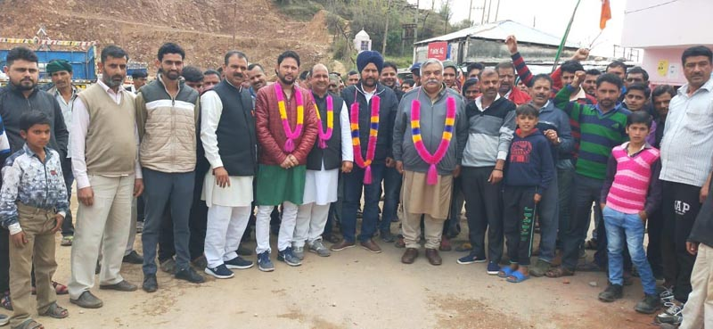 BJP leaders during campaigning in Kathua on Tuesday.