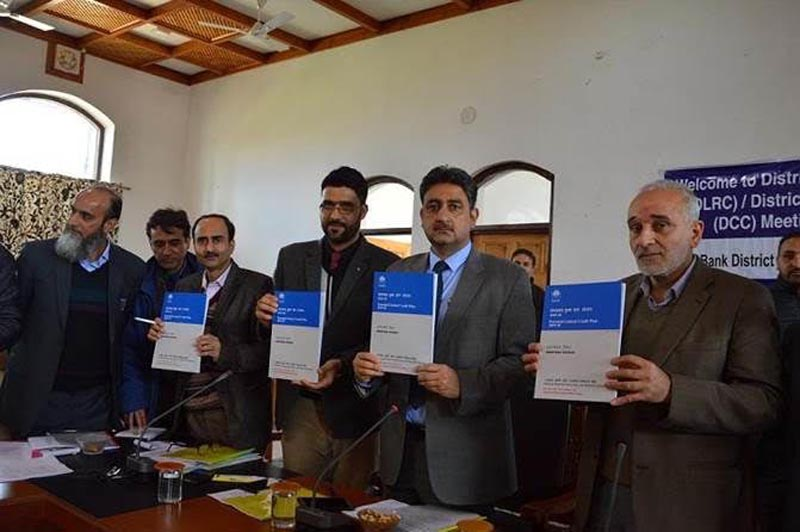 DC Anantnag Khalid Jehangir along with DDM NABARD Rouf Zargar and others unveiling NABARD's Potential-linked Credit Plan (PLP) for year 2019-20.