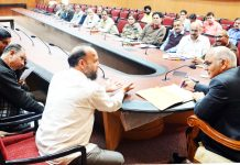 Advisor Kewal Kumar Sharma chairing public grievances redressal camp on Tuesday.
