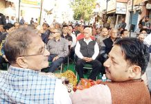 Former Deputy CM, Kavinder Gupta addressing a meeting at Shastri Nagar on Tuesday.
