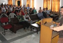 Chairman, Team Jammu, Zorawar Singh Jamwal, addressing the students at IECS Polytechnic, Purkhoo Camp in Jammu.