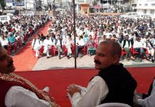 NPP leaders Harsh Dev Singh and BS Mankotia at public rally in Kathua on Tuesday.