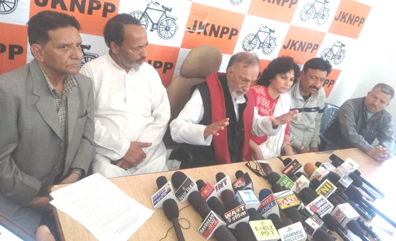 NPP leader Prof Bhim Singh addressing a press confernce in Jammu on Tuesday.