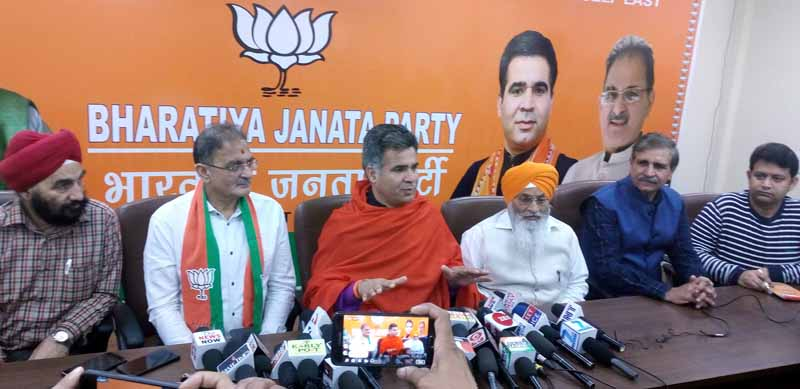 BJP leaders at a press conference at Jammu on Tuesday.