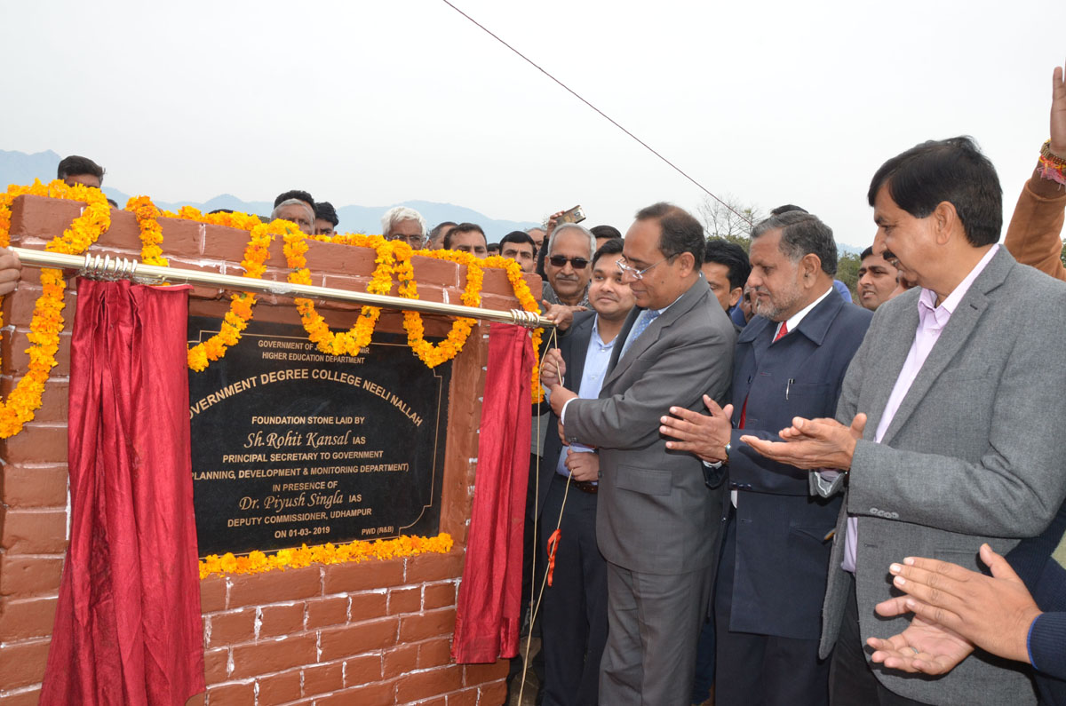 Rohit Kansal unveiling foundation stone of GDC Neeli Nalla Udhampur on Friday.