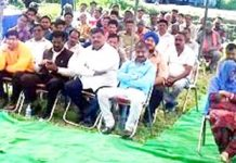 NC leader Ajay Sadhotra addressing public meeting in Marh on Sunday.