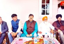 MP, Jugal Kishore Sharma during a meeting at R.S Pura on Sunday.