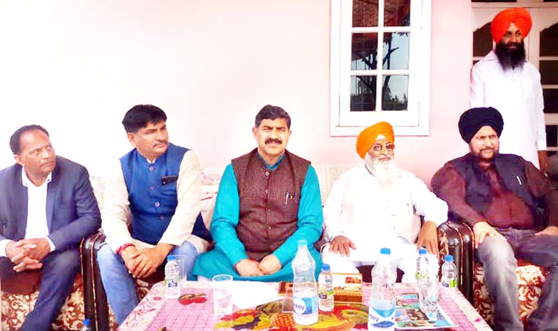 MP, Jugal Kishore Sharma during a meeting at R.S Pura on Sunday.