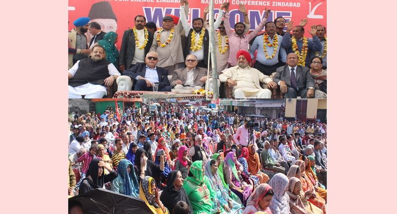 NC president Dr Farooq Abdullah and other party leaders at an election rally at Bahu Fort on Sunday.
