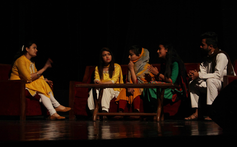 A scene from the Dogri play 'Bhagya Vidhata', staged by Lakshya-The Aim, at Abhinav Theatre on Sunday. —Excelsior/Rakesh