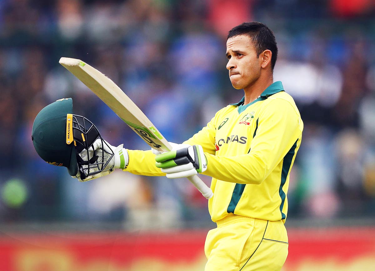 Usman Khawaja celebrating after slamming second century against India in 5th ODI at New Delhi on Wednesday.