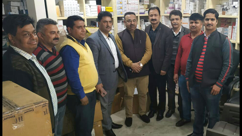 JCCI members posing for photograph after handing over medicines to the Dy Controller Drugs Jammu on Saturday.