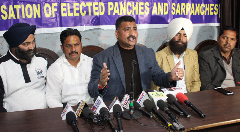 AJKPC president Anil Sharma addressing press conference in Jammu on Saturday. -Excelsior/Rakesh