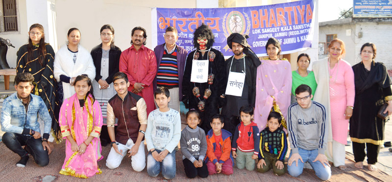 A scene from Dogri Musical Play 'Navi Chetna' staged at Jammu on Saturday.