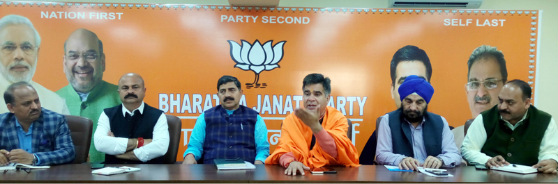 BJP leaders at a meeting at Jammu on Thursday.
