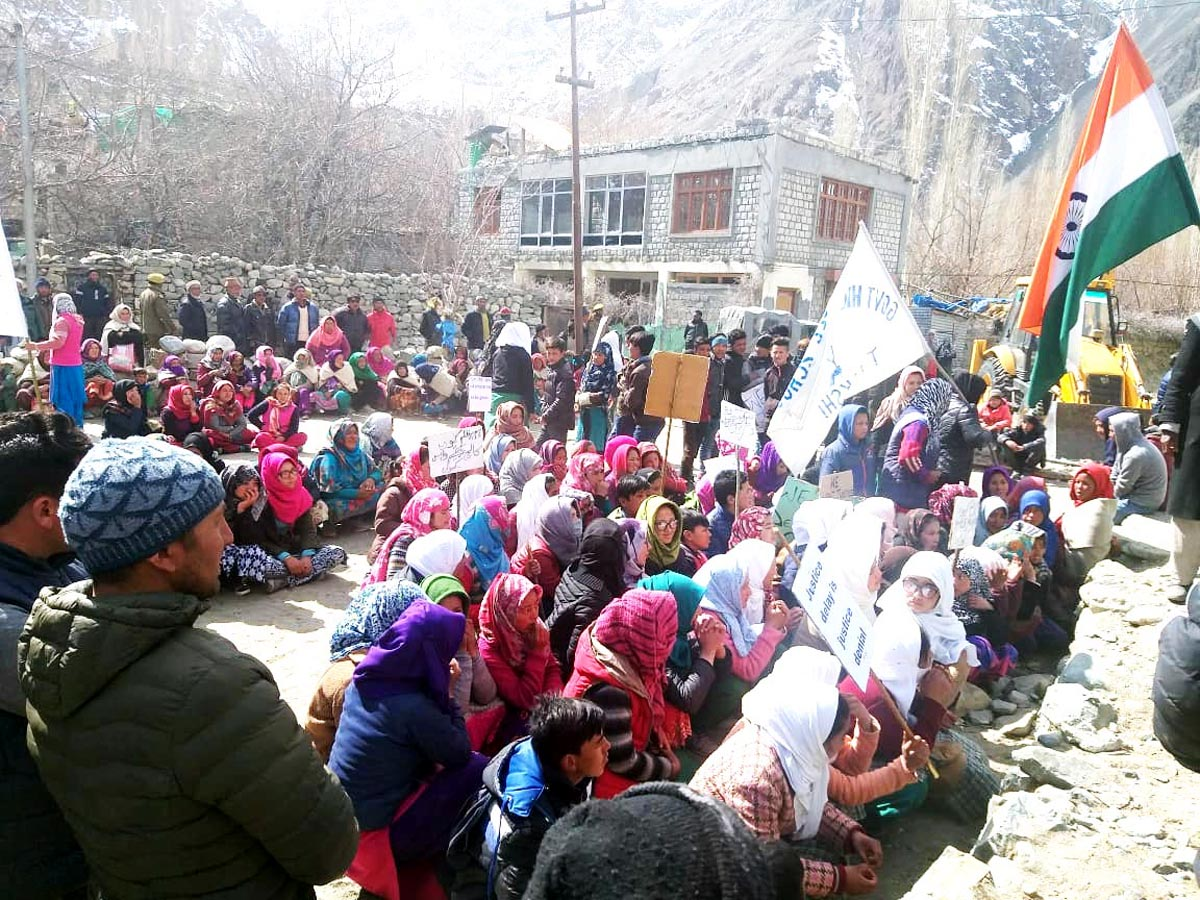 Students and locals protesting for Govt Degree College at Turtuk in Ladakh on Tuesday.