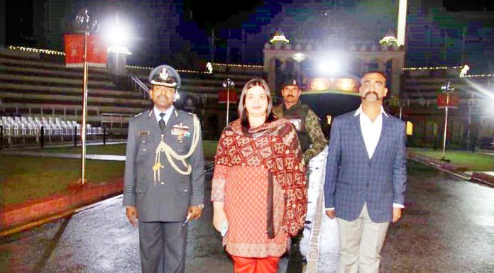 Wing Commander Abhinandan at Wagah border on Friday.