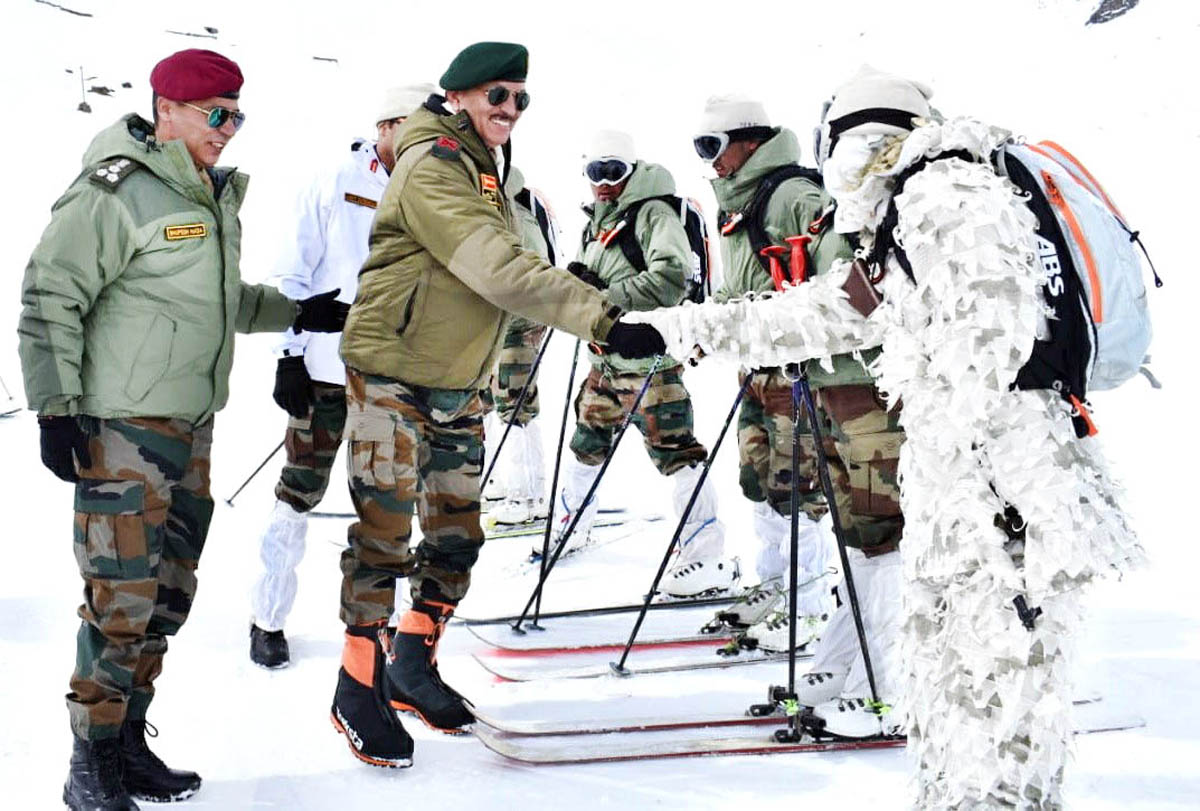 GOC Lt Gen Y K Joshi interacting with soldiers in Siachen on Tuesday.