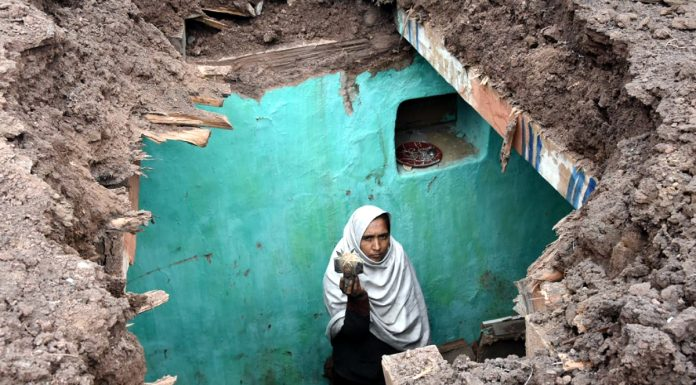 A house extensively damaged in Mendhar sector on Friday. -Excelsior/Rahi Kapoor