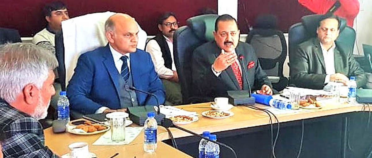 Union Minister Dr Jitendra Singh speaking after electronically launching Rs 208 crore road projects in Udhampur-Kathua-Doda Lok Sabha constituency, on Tuesday.