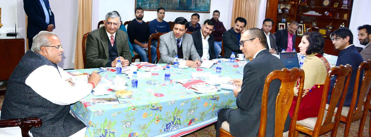 Governor S P Malik chairing governing body meeting of Mubarak Mandi Heritage Society on Tuesday.