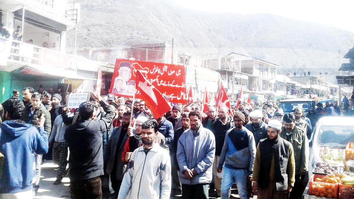 LoC residents of Uri taking out a protest rally on Tuesday.