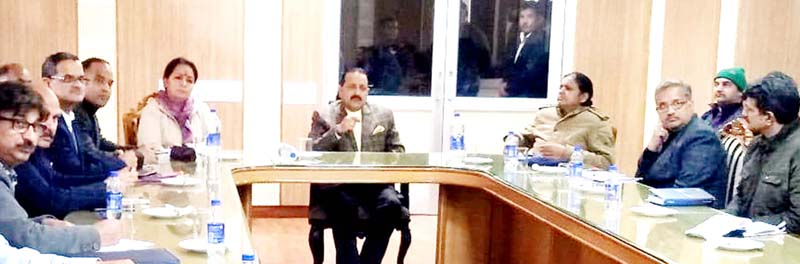 Union Minister Dr Jitendra Singh chairing a meeting at Katra on Sunday.