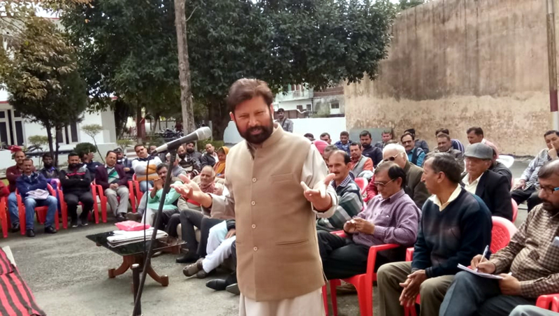 Former MP Ch Lal Singh addressing meeting of DSS members at Kathua on Sunday.