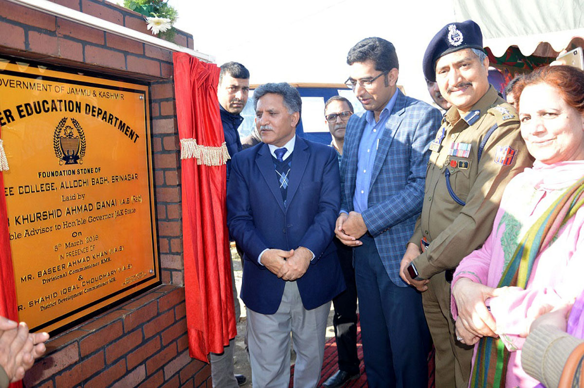 Advisor Khurshid Ahmad Ganai laying foundation stone of new Degree College at Aloochi Bagh on Tuesday.