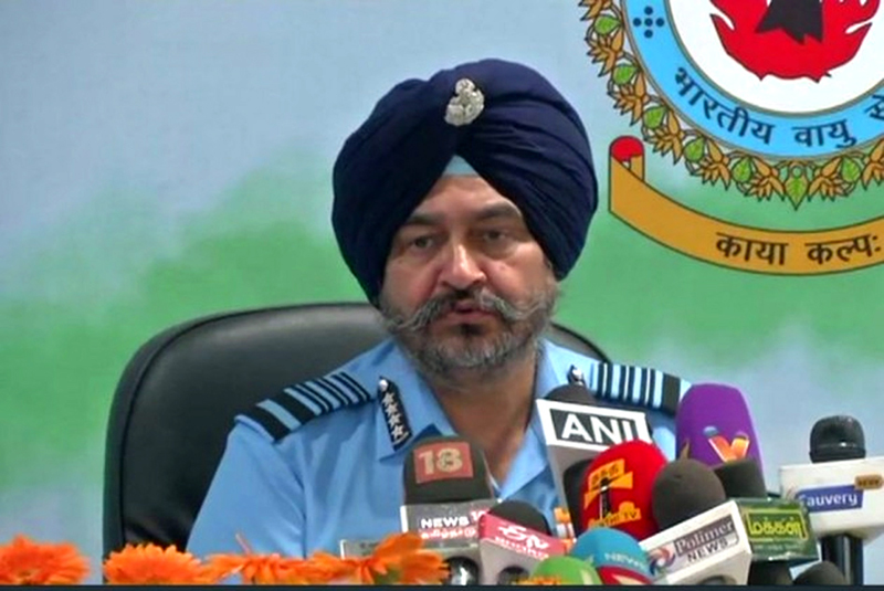 Air Chief Marshal BS Dhanoa at a press conference in Coimbatore on Monday.