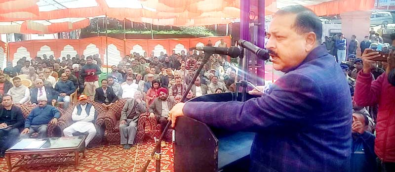 Union Minister Dr Jitendra Singh addressing public gathering after laying the foundation stone of Devika bridge, at Udhampur on Monday.