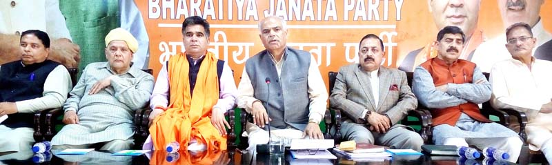 BJP leaders during state office bearers meeting at Jammu on Monday.