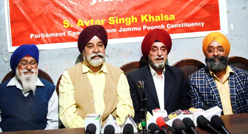 Advocate Surinder Singh addressing press conference in Jammu on Monday. -Excelsior/Rakesh