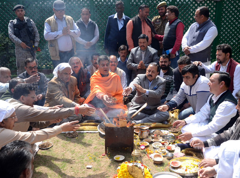BJP leaders performing Havan at Jammu on Wednesday. —Excelsior/Rakesh