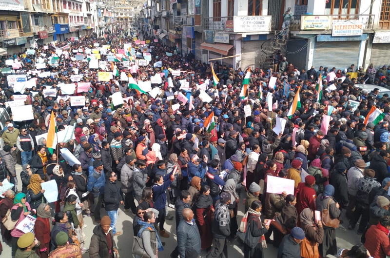 A mega peace rally passing through Leh market on Wednesday. —Excelsior/Morup Stanzin