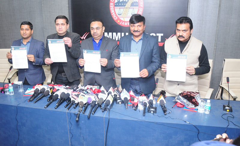 JCCI office bearers announcing opening of membership drive for 'JCCI Club' at Jammu on Wednesday.
