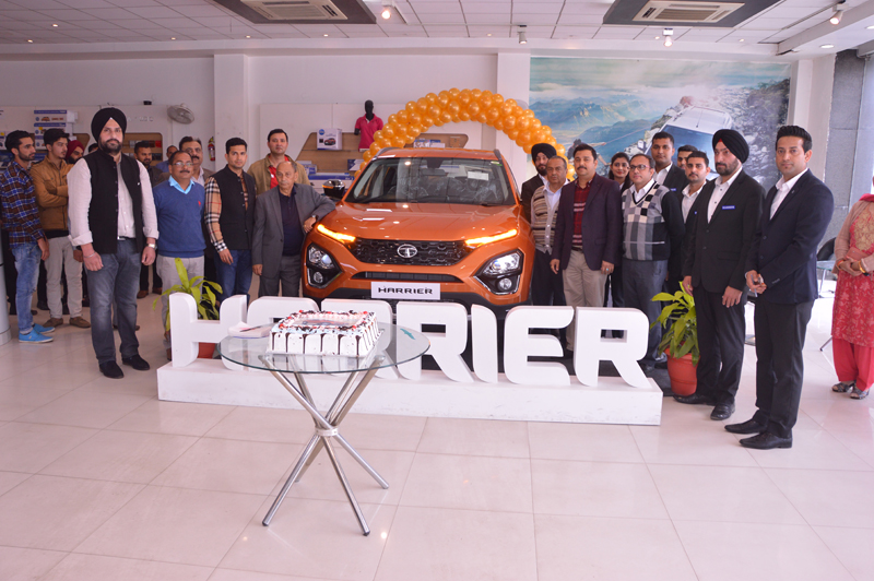 Officials of Fairdeal Motors and Tata Motors during launch of 'Harrier' in Jammu on Wednesday.