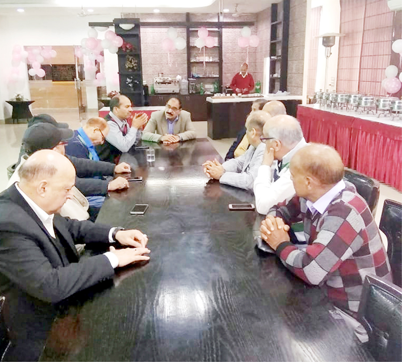 JKP officers during a condolence meeting at GO's Mess, Gulshan Ground, Jammu.
